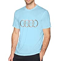 HANRUI Custom 3D Audi Logo T Shirts for Mens100% Cotton O-Neck Sky Blue