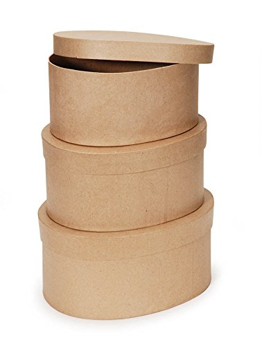 "Darice Paper Mache Craft Boxes - 8"", 9"" and 10"" Oval Boxes with Lids - Sturdy Boxes Come Nested Inside Each Other - Perfect for Decorating - Create Card Boxes, Centerpieces and More, Set of 3"