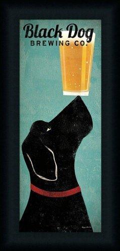 Buyartforless Framed Black Dog Brewing Co. by Ryan Fowler 22.5x10.5 Labrador Beer Art Print Picture