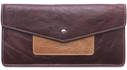 Borgasets Women's Wallet Leather RFID Blocking Ultra-thin Envelope Ladies Purse Travel Clutch with ID Card Holder and Phone Pocket (Reddish brown) ()