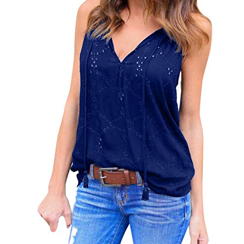 MURTIAL Women Vest Sleeveless T-Shirt Pullover Solid T-Shirt Sleeveless Casual Blouse Camisoles Undershirt(Blue1,XXXL)