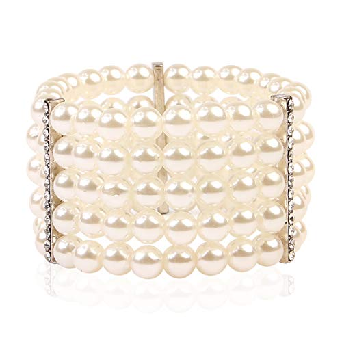 (RIAH FASHION Bridal Acrylic Faux Pearl Stackable Stretch Bracelets - Layering Bead Multi Strand Bride Wedding Statement Bangles (5 Line Pearl - Silver))