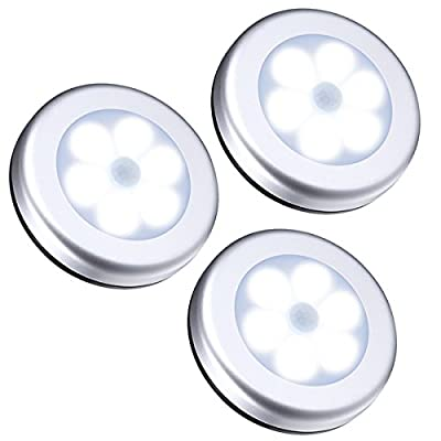 AMIR Motion Sensor Light, Cordless Battery-Powered LED Night Light, Stick-anywhere Closet Lights Stair Lights, Safe Lights for Hallway, Bathroom, Bedroom, Kitchen, etc. (White - Pack of 3) from AMIR