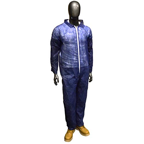 Radnor Large Blue Spunbond Polypropylene Disposable Coveralls With Front Zipper Closure, Package Size: 1 Each