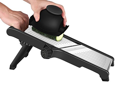 (CaCaCook Stainless Steel Mandoline Slicer Adjustable Kitchen Food Mandolin Vegetable Julienne Slicer For Fruits And Vegetables From Paper-Thin To 6mm With 6 Stainless Steel Blades By Cacook - Black)