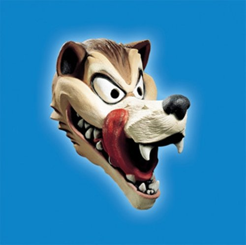 Disguise Men's Hungry Wolf Latex Costume Mask, Brown/Beige/Black/Red, (Latex Wolf Mask)