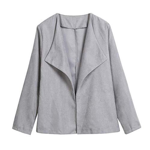 36a40cb29d6b Manica Grau Donna Outwear Cappotto Giacca Cerimonia Business Solidi Camicia Colori  Primaverile Ufficio Elegante Moda Bavero Lunga Casual Autunno ...
