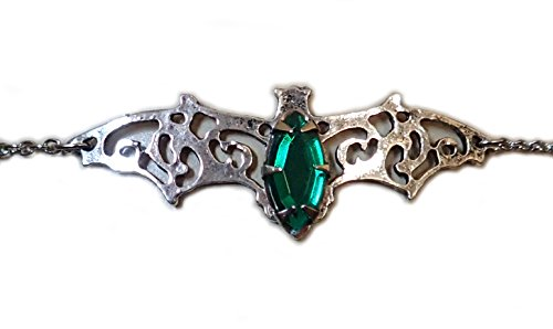 Elegant Filigree Vampire Bat Headpiece w/ Emerald Green Stone (Tiara Gothic Bat)