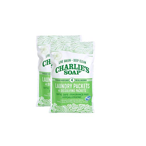 - Charlie's Soap - Unscented Laundry Packets - Travel Size (2 Pack, 8 Total Loads)