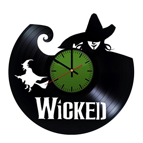 Wicked Broadway Vinyl Record Wall Clock - Contemporary and Creative Bedroom Wall Decor - Modern Fan Art - Best Gift Idea for Boys and Girls