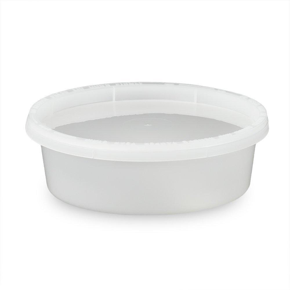 食品用容器とふた 円形 8オンス さまざまな色/ふたの種類/数量でご用意- Recessed MPT41008CP-779727_L410R-182115QTY50 B01KKFS0SS Recessed Translucent 50 Pack