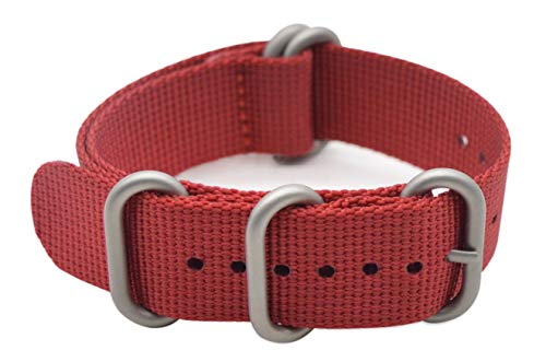 ArtStyle Watch Band with 1.5mm Thickness Quality Nylon Strap and Heavy Duty Brushed Buckle (Red, 18mm) ()