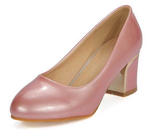 VogueZone009 Damen Rund Zehe Ziehen auf PU Leder Rein Niedriger Absatz Pumps Schuhe Pink