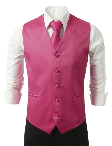 (IDARBI Men's 3 Piece Dress Vest, Necktie and Handkerchief for Suit or Tuxedo FUCHSIA4 L)