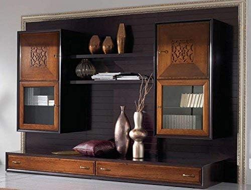 Pared modular para salón marco hoja plata H. 208 x P.62 x L.315, 162 kg, 100% Made in Italy (F4): Amazon.es: Hogar