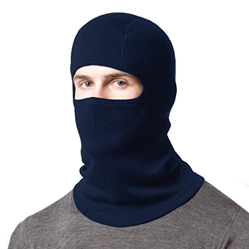 Minus33 Merino Wool Clothing Midweight Balaclava, One Size, Navy (Back Mask Face Navy)