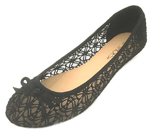 Womens Canvas Crochet Slip on Shoes Flats 5 Colors 5060 Black 11