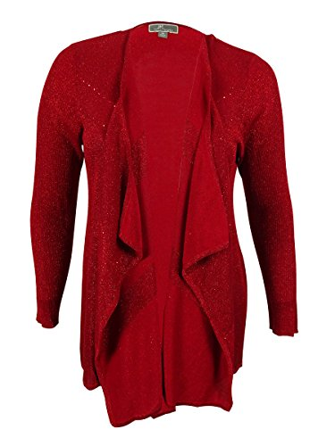 JM Collection Women's Long Sleeves Embellished Cardigan (0X, New Red Amore)