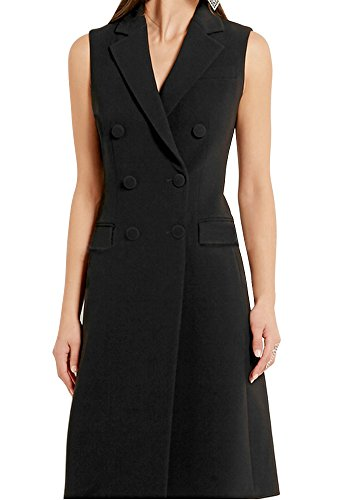 Zicac Women's Double Breasted Lapel Vest Sleeveless Slim Fit Mid-length Dress Vest Waistcoat (Black, L)