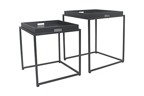 - Urbanest Brooklyn Set of 2 Metal and Wood Nesting Tables, Black