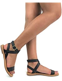 Ankle Wrap Strap Sandal with Buckle