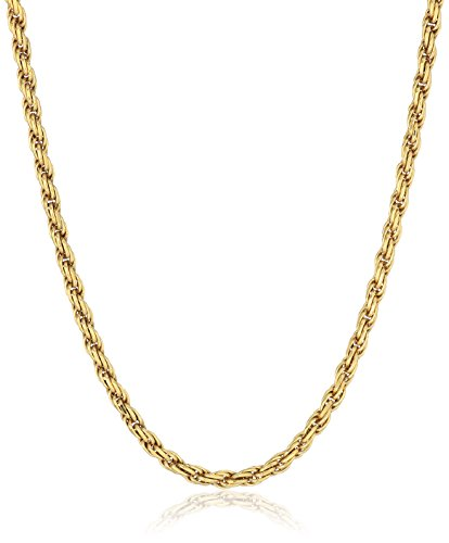 Amazon Essentials Yellow Gold Plated Sterling Silver Diamond Cut Rope Chain Necklace, 30