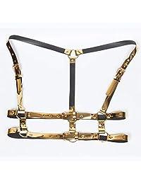 Personality street dance catwalk show mirror PU leather strap waist gauze handsome punk silver buckle double belt tide (Color : Gold, Size : Adjustable)