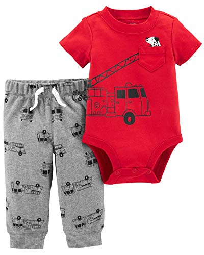 Carter's Baby Boys' 2 Piece Bodysuit and Pants Set (Red/Firetrucks, 24 Months)