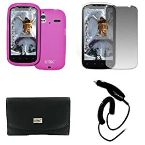 EMPIRE HTC Amaze 4G Black Leather Case Pouch with Belt Clip and Belt Loops + Hot Pink Silicone Skin Cover Case + Screen Protector + Car Charger (CLA) [EMPIRE Packaging]