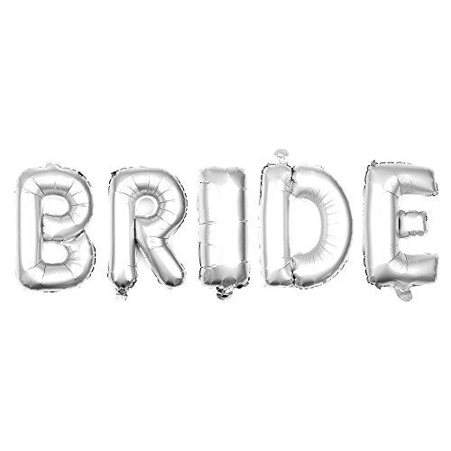 Ella Celebration Non-Floating Bride Letter Balloons Bridal Shower Bachelorette Party Decorations Small 13 Inch (Silver)