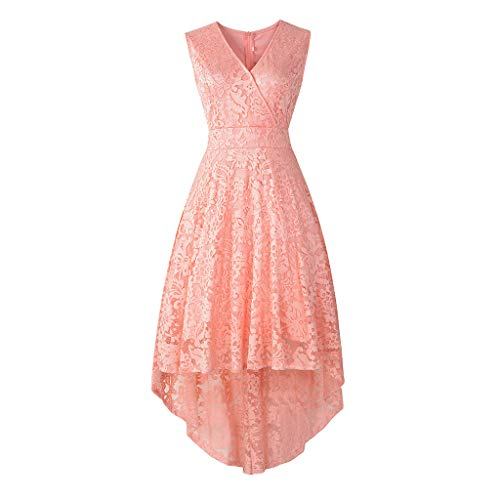 URIBAKE ♥️ Women's Vintage Lace Dress V-Neck Sleeveless Solid Spring Country Rock Cocktail Dress Pink
