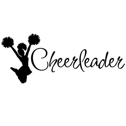 Boodecal Sport Series Cheerleader Silhouette Quote Wall Decal Mural Sticker Decor for Nursery Bedroom Living Room 41*16 Inches (41*16 Inches) -