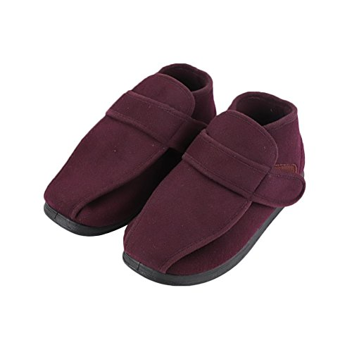 Footwear Adjustable Boots Extra Shoes Diabetic Foot Therapeutic Burgundy Depth Roomy Closures Wide Extra Swollen with for Womens Width 0zxqwOzE