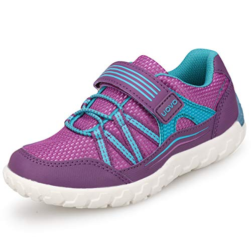 Girls Hiking Shoes - UOVO Girls Shoes Sneakers Velcro Tennis Shoes Running Shoes Hiking Shoes for Little Kids Girls (9.5 M US Little Kid, Purple)