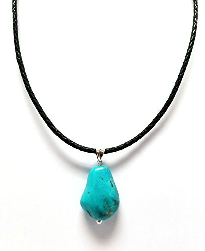 Regalia by Ulti Ramos Leather Cord and Turquoise Nugget Pendant Necklace in Sterling Silver