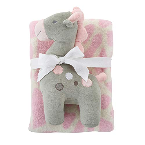 Stephan Baby Super-Soft Fleece Crib Blanket and Plush Toy Gift Set, Pink and White ()