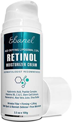 Ebanel Retinol Cream 2.5% with Hyaluronic Acid, Peptides, 3.5 Oz Anti Aging Face Cream, Retinol Face Moisturizer Anti Wrinkle Night Cream for Face, Eyes, Neck with Shea Butter, Jojoba Oil, Aloe Vera
