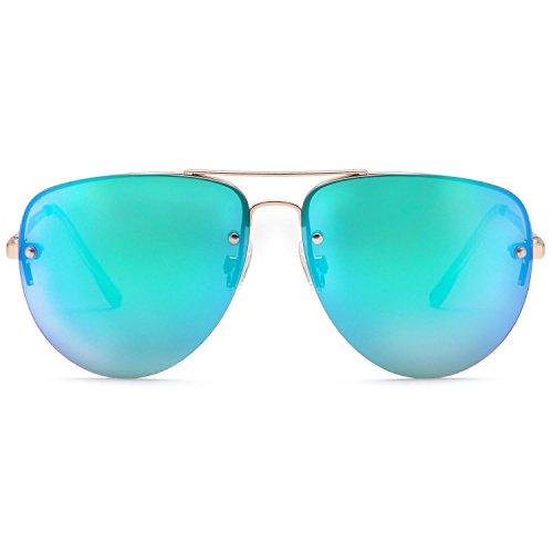 SUNLOUNGER Womens Oversized Aviator Sunglasses – Mirror Teal Lenses on Gold Frame -