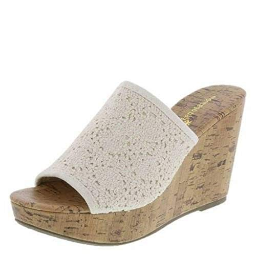Montego Bay Womens Natural Beige O'Malley High Wedge Slide Sandals Shoes (12)