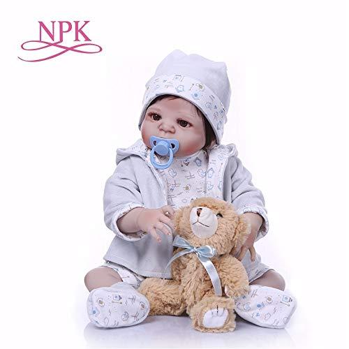 Reborn Dolls, NPK Baby Girl Reborn Dolls Toy Full Silicone Vinyl 22cm Real Life Bebe Reborn Alive Doll Hot Toys for Girls Bear from NPK DOLL