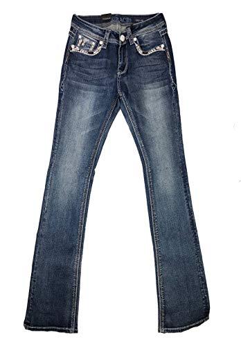 Pocket Jeans Embellished Bootcut - Grace in LA Women's W Embellished-Pocket Easy Fit Bootcut Jeans (Blue, 29)