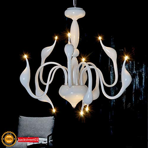 FidgetGear Modern Swan LED Pendant lamp Ceiling Light Chandelier Living Room Lighting Φ88cm White + LED Bulbs by FidgetGear (Image #2)