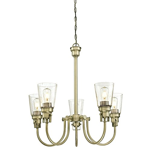 Westinghouse Lighting 6334100 Ashton Five-Light Indoor Chandelier, Antique Brass Finish with Clear Seeded Glass