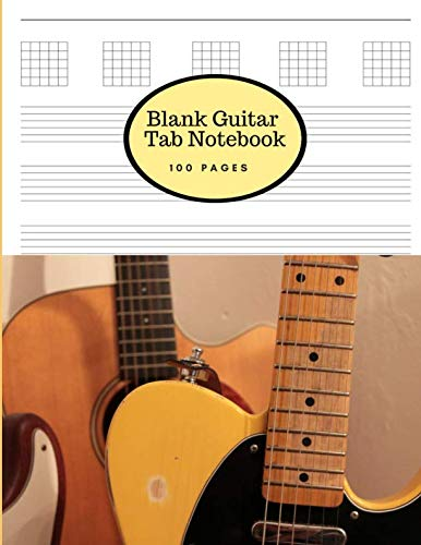 (Blank Guitar Tab Notebook: Large Sheet Music Staff Paper for Writing Guitar Melodies, Riffs, Chords and Songs - Matte Cover with a Telecaster)