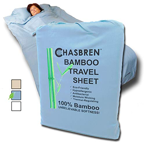 Chasbren Travel Sheet - 100% Bamboo Travel Bedding for Hotel Stays and Other Travels - Soft Comfortable Roomy Lightweight Sleep Sheet, Sack, Bag, Liner - Pillow Pocket, Zippers, Carry Bag (Blue) (Best Travel Sleep Sack)