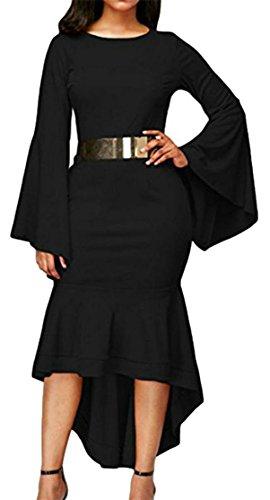Cromoncent Femmes Manches Évasées Partie Irrégulière Robes Moulantes De La Ceinture De Noir Crewneck