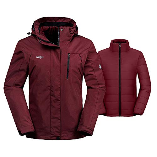 Wantdo Women's Waterproof 3-in-1 Skiing Jacket Softshell Snowboarding Coat Wind Resistant Rainwear with Removable Puffer Liner(Wine Red, Medium) (White Womens Snowboarding Pants)