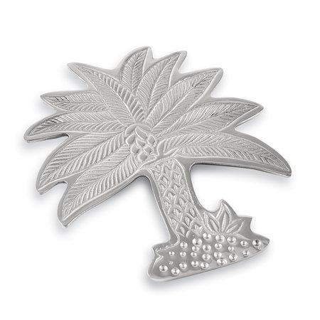 Palm Tree Silver Tone Trivet by IHI (Trivet Aluminum)