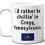 Gregg Pennsylvania Coffee Mug Souvenir Gift.'Chillin In' With PA Flag. 11 Ounces.
