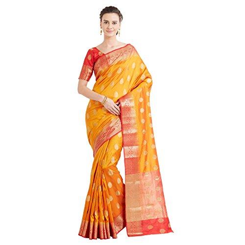 Designer Sarees Woven Work Banarasi Art Silk Saree for women With Unstitched Blouse Piece (Shaded Mustard)